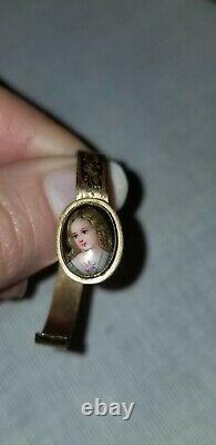 Antique French Hand Painted Porcelain Portrait Miniature 12k Gold Doll Bracelet