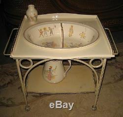 Antique French Sarreguemines Kate Greenaway Enfants Richard Child doll washstand