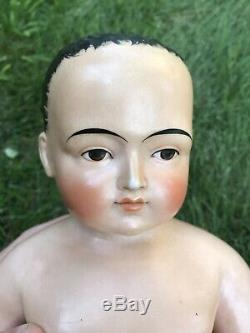 Antique Frozen Charlotte Charlie Doll LARGE 16 Chubby Boy Porcelain Germany