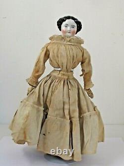 Antique German 17 1/2 Black Hair China Head c. 1860 Original Clothes