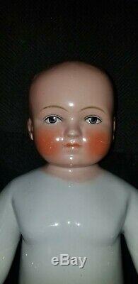 Antique German Frozen Charlie China Porcelain Approx. 15.5 Blonde Boy Doll
