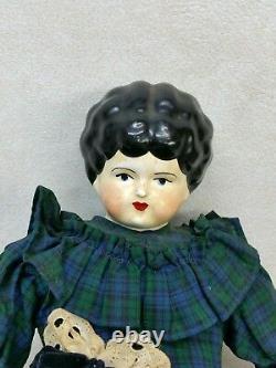 Antique German Glazed Porcelain China Doll Handmade 14.5'' Tall, Rare