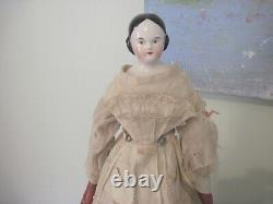 Antique German Kister Covered Wagon Shoulder Head China Doll c1850