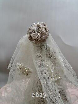 Antique German Porcelain Bride Half Doll In Metallic & Lace Gown Pearl Trim Veil