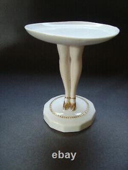 Antique German Porcelain Half Doll Pedestal Legs Puff Pinchion Holder