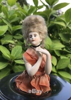 Antique German porcelain half doll Goebel marked arms away pincushion