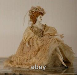 Antique German porcelain half doll arms away trinket box jewelry jewellery