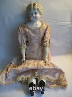 Antique Hertwig Germany Porcelain 19 MARION Blonde China Head Pet Name Doll