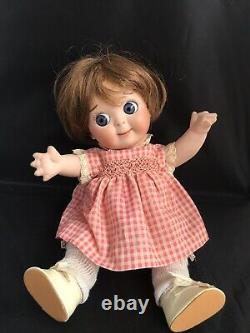 Antique JDK 221 Reproduction Ges Gesch Googly Doll Porcelain Jointed 11 Inches