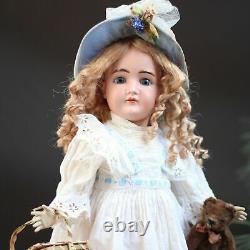 Antique Kestner Porcelain Doll 1890 Closed Mouth & Steiff Teddy & Trousseau