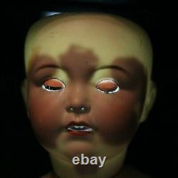 Antique Large Character Porcelain Doll Franz Schmidt c1910s w Steiff Teddy Bear