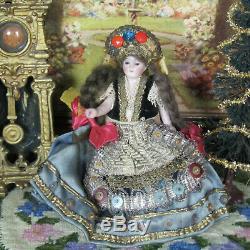 Antique MIGNONETTE DOLL GLASS EYES Hungarian Bride Dress Bisque Porcelain German