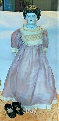 Antique PET NAME CHINA-HEAD DOLL/Bertha/c. 1800s/Hertwig & Co. /19/Used VG