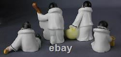 Antique Pierrot Clown Miniature Jazz Band Porcelain Figures Dolls Marked Germany