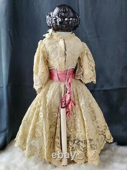 Antique Porcelain 11 Head, Hands & Leather Body Doll 18tall Linen & Lace Dress