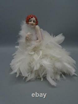 Antique Porcelain China Half Doll Figurine Pin Cushion Art Deco Flapper Feathers