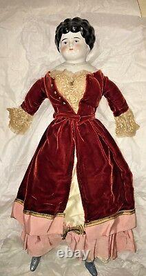 Antique Porcelain/China Hertwig Bertha Pet Name Doll, Fabric Body, Germany 21
