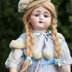 Antique Porcelain Doll 1890-1900s Eden or Julien in Silk Dress w Steiff Teddy