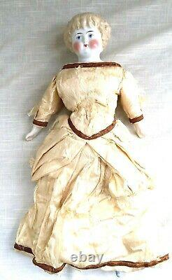 Antique Porcelain Doll, Molded Blonde Highland Mary Hair, Hand Painted 17 #5