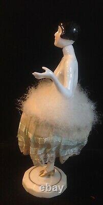 Antique Porcelain German Elegant Lady Powder Puff