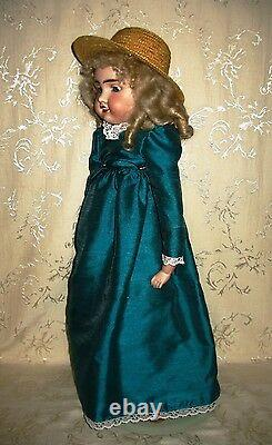 Antique Porcelain Head Doll Leather Body Marked LIAN1 8 French 24