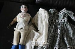 Antique Porcelain Kling China Head Doll, 21 Black Hair Cloth Body #189