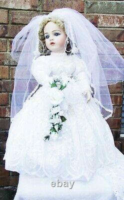 Antique Reproduction Bru Jne 13 Porcelain Victorian Bride Doll Patricia Loveless