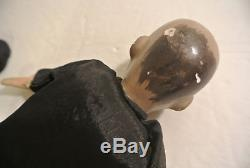 Antique Vintage Chinese Hand Painted Porcelain Traditional Silk Cloth MAN DOLLS