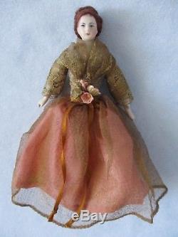 Antique Vintage Dollhouse Doll 6 Porcelain Bisque Lady Fancy Hair, Dress