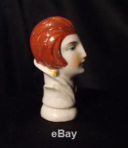 Antique Vintage German Half Doll China Porcelain Art Deco Flapper