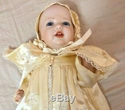 Antique/Vintage J. D. K Mcnees Baby Doll in Satin Christening Gown Germany 14