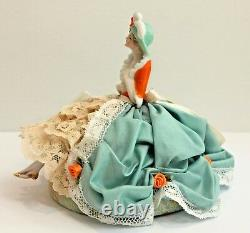 Antique Vintage Porcelain German Half Doll Pin Cushion Boudoir Doll with Legs