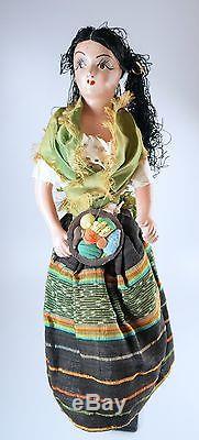 Antique Vtg As Found Boudoir Doll 17 Painted Ceramic Composition Rita Hayworth