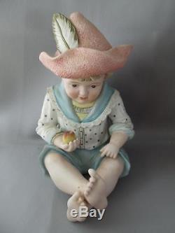 Antique Vtg Large German Piano Baby Boy & Girl Doll Porcelain Statue Figurine
