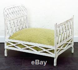 Antique White Iron Lattice Doll Bed Fretwork Vintage Style