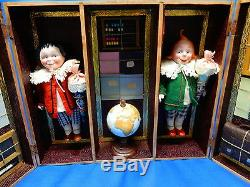 Antique klappschule with 2 porzellankopf Max and Moritz Dolls