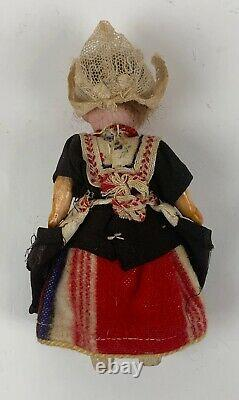 Antique miniature German bisque porcelain doll with box souvenir Holland