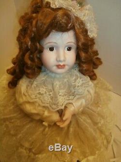 Antique/vtg Animatronic Bisque Porcelain Dollvictorian Lace Dress Collector Item