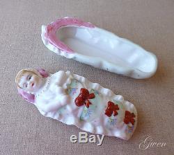 Antique vtg German Bisque porcelain swaddled Baby bunting Doll Trinket Box