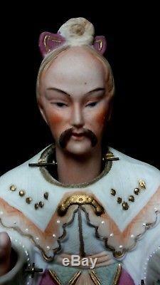 Ardalt Asian Japan Nodder doll set man woman Fan Porcelain Antique Vintage EUC