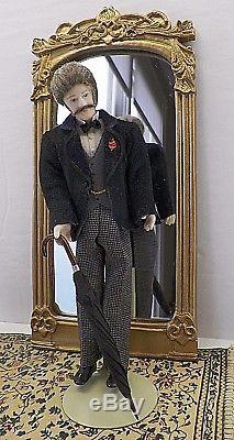 Artisan Made Vintage Porcelain Victorian Man Dollhouse Doll 112 1980s OOAK