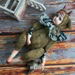 Artist teddy doll Faun OOAK created with vintage plush