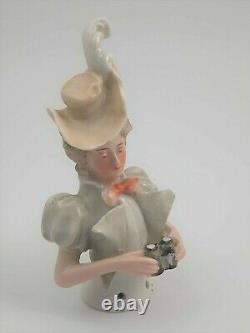 BEAUTIFUL ANTIQUE GERMAN HALF DOLL LADY with BINOCULARS BY GALLUBA & HOFMANN