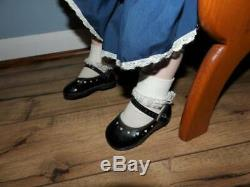 Baby girls porcelain doll dress shoes purple eyes vintage chair