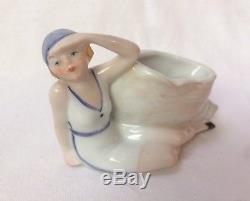 Bathing Beauty Flapper Figurine Porcelain Half Doll Pin Vase Pot Germany Vtg