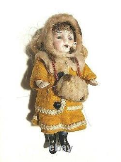 Beautiful Antique German Miniature Porcelain Bisque Dolls House Doll Original
