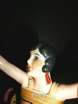 Beautiful German 1920's Porcelain Art Deco Flapper Half Doll Arms Away