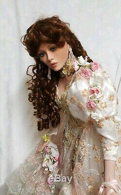 Beautiful Rustie Victorian Vintage 003/150 36 Porcelain Doll with Stand