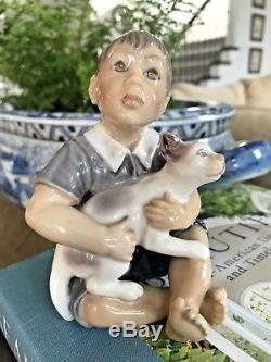 Beautiful! Vintage Copenhagen Dahl Jensen Boy w Cat 1291 Porcelain Figurine Doll