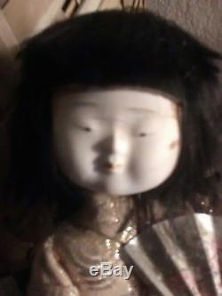 Bisque Gumps Hakata Red Brocade Kimono 9Vintage Japanese Geisha Doll Porcelain
